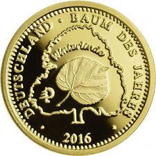 2 g Gold Winterlinde Baum des Jahres Münze Berlin 2016