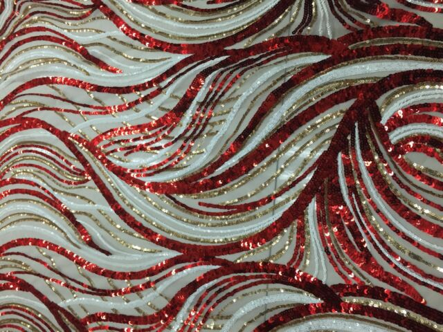 FLORAL EMBROIDERY BEADS FABRIC/mesh lace/Sequins/red&white&golden