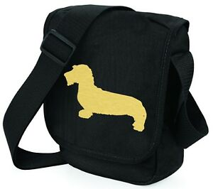 Wirehaired-Dachshund-Shoulder-Bags-Metallic-Gold-Silver-on-Black-Bag-Xmas-Gift