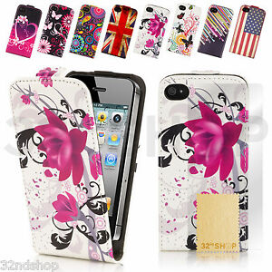 ULTRA-THIN-PU-LEATHER-FLIP-CASE-COVER-FOR-IPHONE-4-4S-5-WITH-SCREEN-PROTECTOR