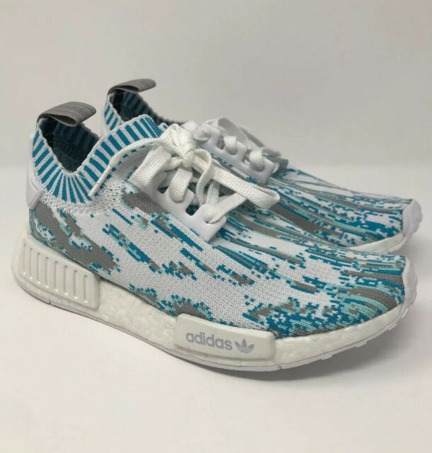 Adidas NMD R1 PK SNS Datamosh Sneakers White Grey Blue BB6364 Men's Size 6 NEW