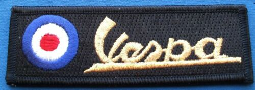 Vespa Bar Embroidered Patch Black And Gold