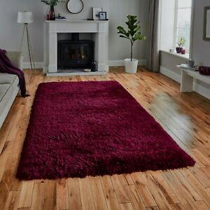NEW-LARGE-THICK-PLUM-RED-WINE-LONG-SOFT-FLUFFY-PILE-SHAGGY-RUG-120x170