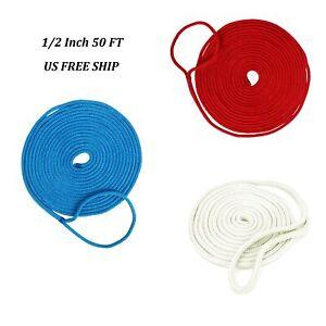 "50ft 1//2/"" Double Braid Nylon Dockline Dock Line Mooring Rope White Color"
