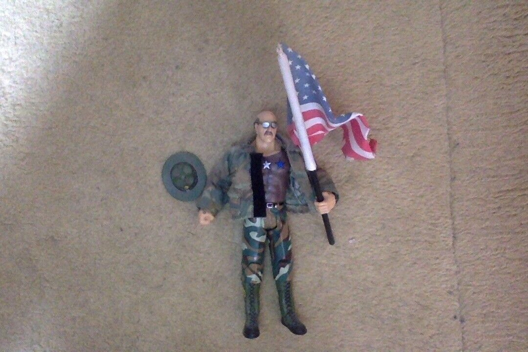 WWE Jakks Classic Superstars figure SGT Slaughter Toyfare exclusive w  USA flag