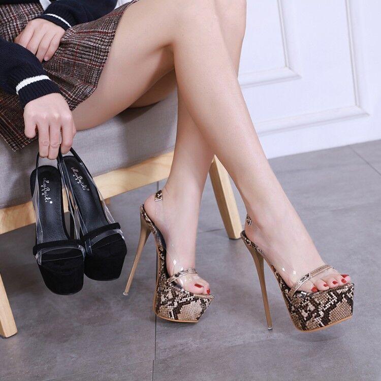 6.8'' Super High Heels Snake Pattern Slingbacks Peep Toe Nightclub Party chaussures