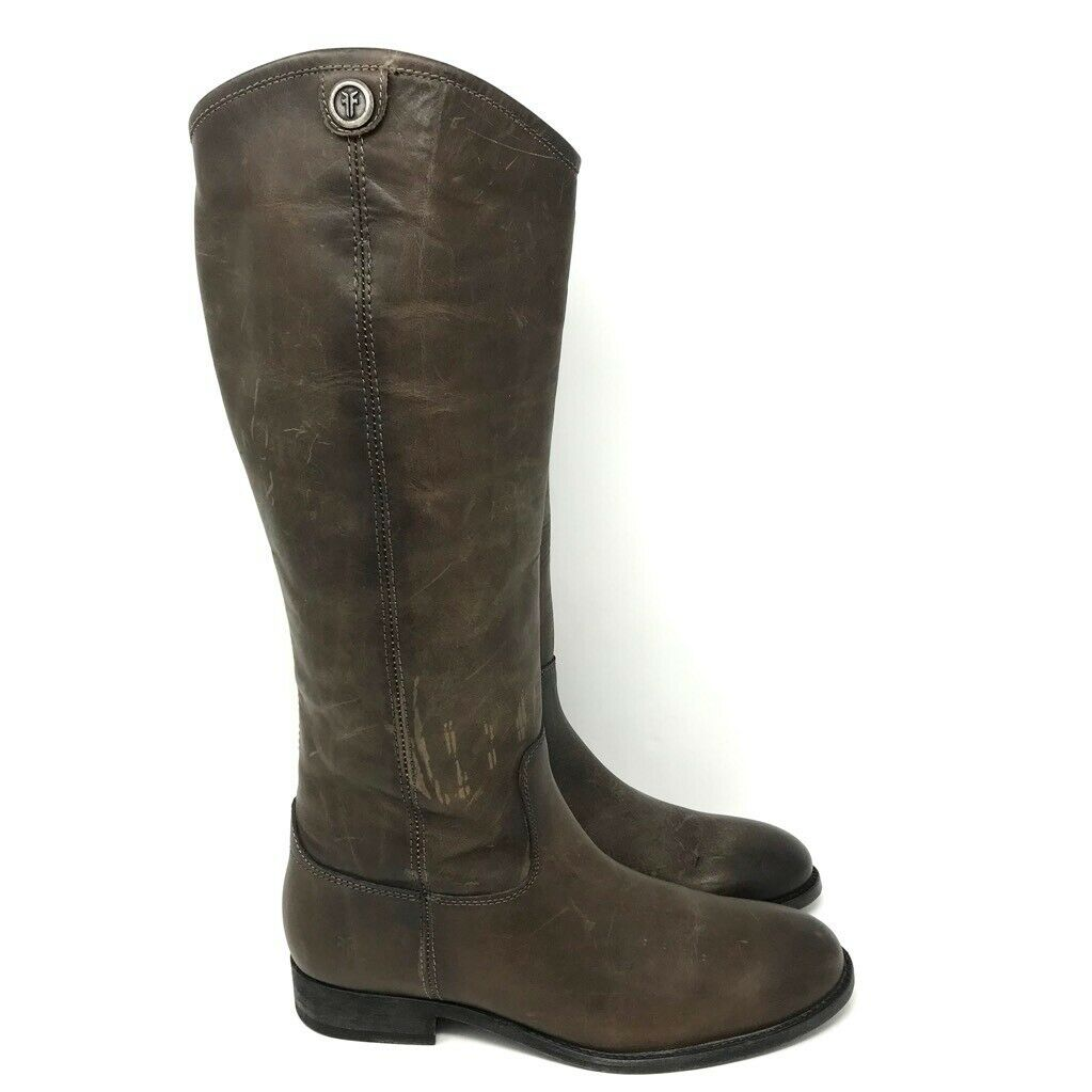 Frye Womens Melissa Button 2 Riding Boots Brown Leather Logo Pull On Lug Soles 7
