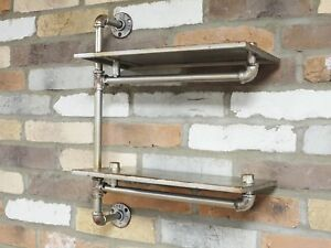 Urban-Industrial-Style-Steel-Grey-Iron-Pipe-Effect-Wall-Shelves-Double-Shelf