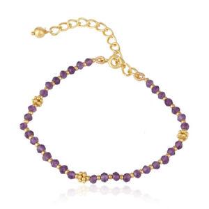 Natural Amethyst Gemstone Beaded Bracelet 925 Silver Designer Jewelry