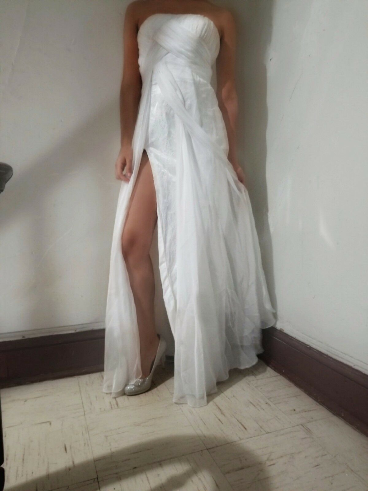 White Strapless Long Prom Dress with Slit