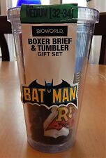 Bioworld Batman Men's Boxer Brief + Plastic Tumbler Gift Set Size M