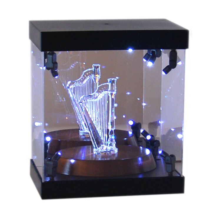 Acrylic Display Case LED Light Box for Swarovski Crystal Harp Dahlia Peony Lotus