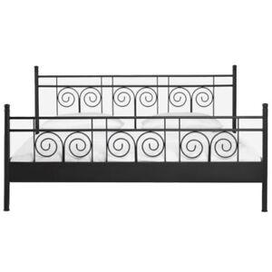 Design-Metallbett-schwarz-Schlafzimmerbett-Bettrahmen-Bettgestell-mit-Kopfteil