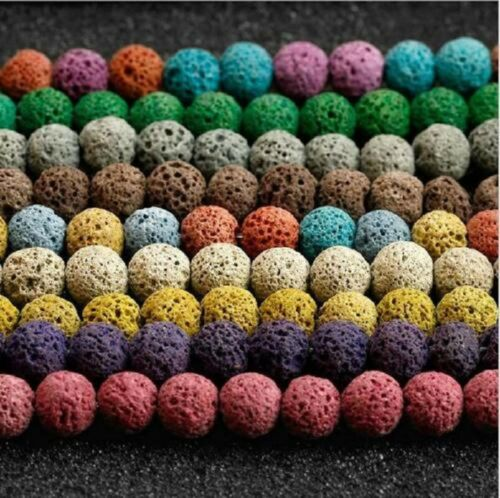 Strand Natural Stone Lava Rock Round Loose Beads For DIY Jewelry Making 8mm 40Pc