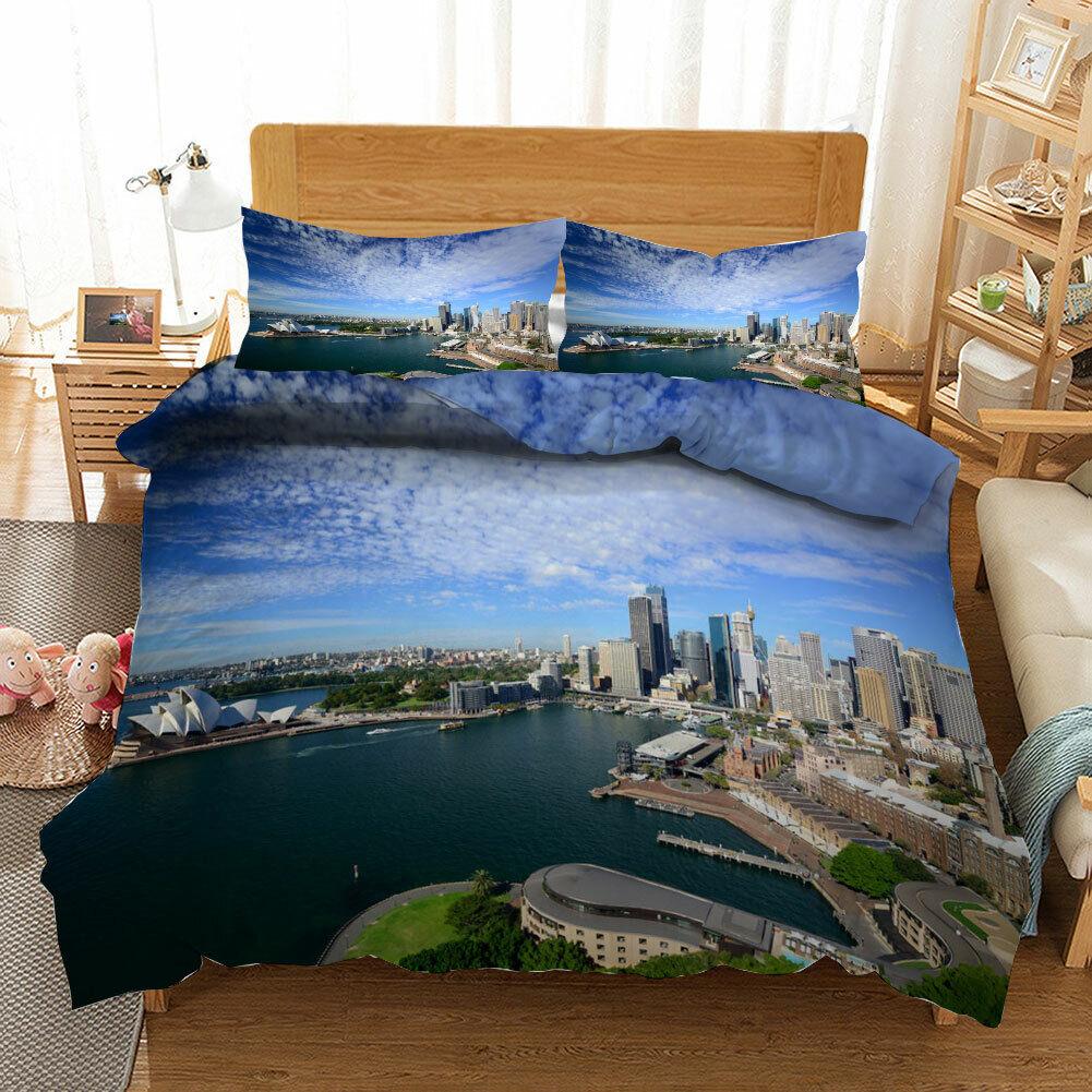 Beautiful Harbour 3D Quilt Duvet Doona Cover Set Single Double Queen King Print