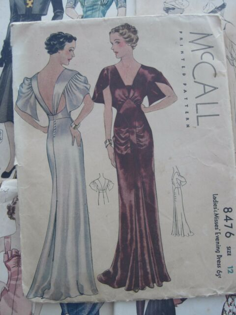 Vintage 1930s Sewing Pattern Evening Gown Formal Dress