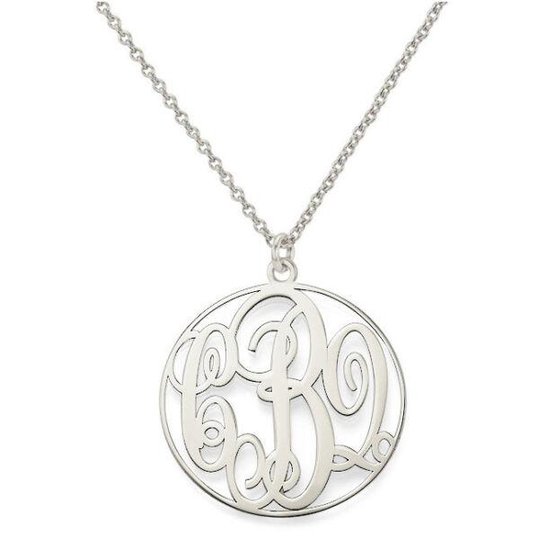 1 Zoll Auf Bestellung Angefertig 3 Initialen Monogramm Halskette In 925 Sterling Reine WeißE