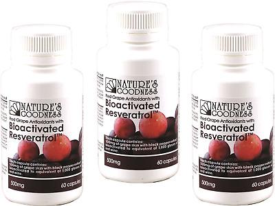3 X 60 Capsules Natures Goodness Australia Grape Bioactivated