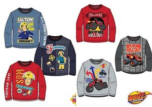 Ragazzi-per-bambini-ragazzi-Blaze-Pompiere-Sam-Manica-Lunga-T-Shirt-Tee-Top-Tshirts-eta-2-8