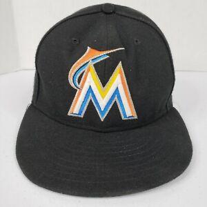 MLB Miami Marlins Fitted Hat Cap 7 1/4 New Era 59fifty ON FIELD Baseball Black