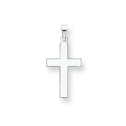 14k White gold Polished Cross Charm Pendant  1 Inch
