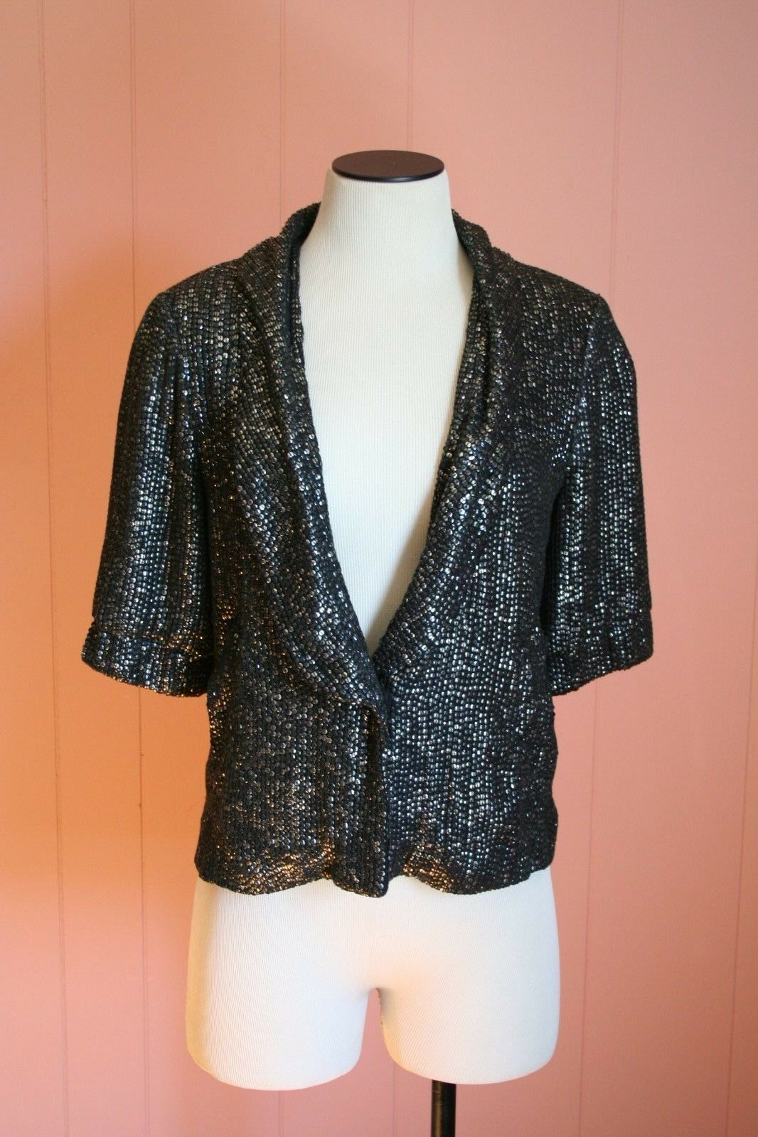 JCrew Moonbeam Sequined Blazer 2 XS Dark Pewter provbit  kort Sleve  495 msrp