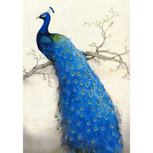 Image is loading Gorgeous-blue-peacock-on-the-tree-Garden-Flag- Gorgeous blue peacock on the tree Garden Flag House Decor Waterproof
