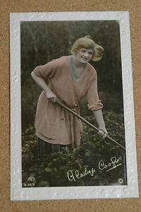 Vintage-Postcard-Gladys-Cooper-Gardening-Actress-Art-Nouveau-Rotary
