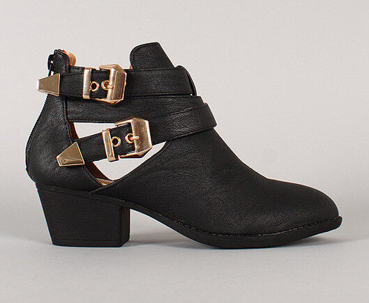 Womens PU-Leather Stacked Cut Out Strappy Buckle Ankle Boots Bootie Heels Combat
