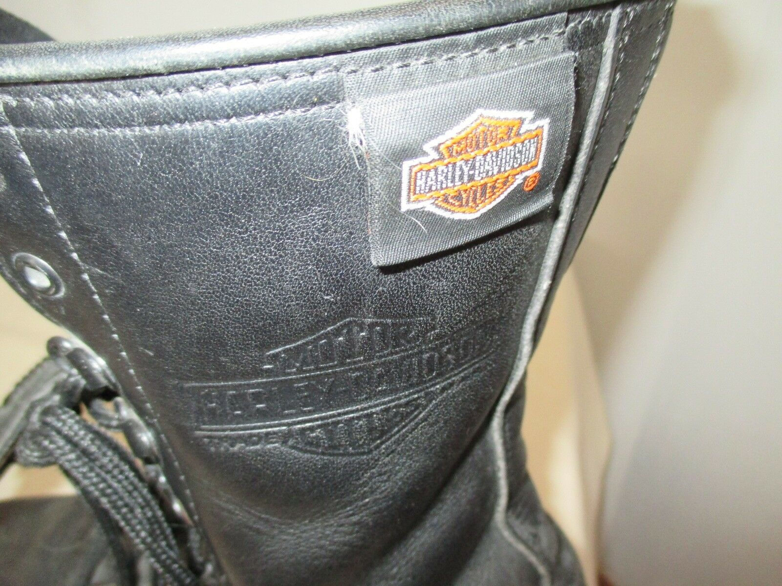 VINTAGE women's HARLEY DAVIDSON Leather Boots LACE ZIP UP  size 7, 9  tall