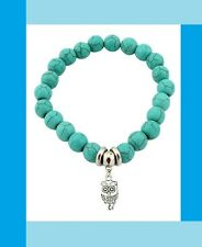 Damen Türkis Armband Eule Silber Armkette Perlen Armschmuck