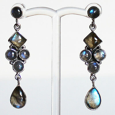 925 Sterling Silver Semi-Precious Natural Labradorite Drop Earrings