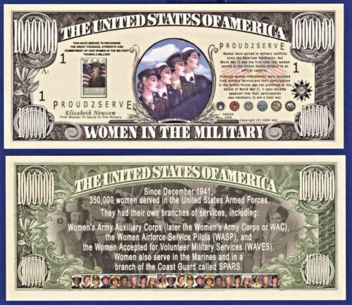 MONEY 2--Women In The Military Million Dollar Bills   Collectible I1 ITEM