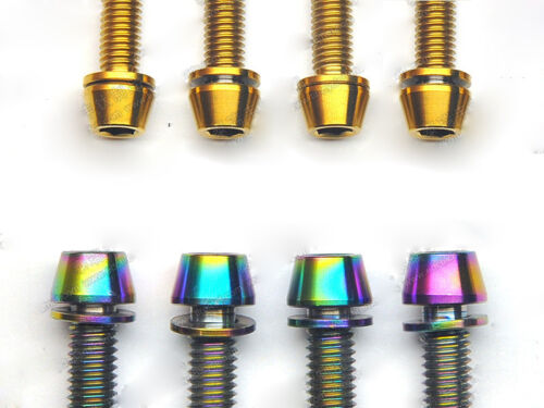 10pcs M6 X16//18//20//25mm Titanium Screws Bolts Tapered Head With Gaskets for Bike