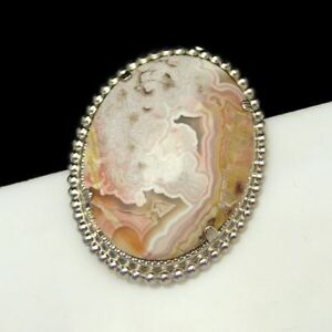 Vintage-Brooch-Pin-Large-Gorgeous-Crazy-Lace-Agate-Cabochon-Beautiful