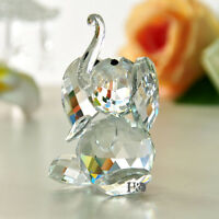 Vintage Dynamically Crystal Paperweight Happiness Elephant Shape Glass Gril Gift