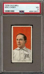 Rare 1909-11 T206 Doc Casey Old Mill Back Montreal PSA 3 VG