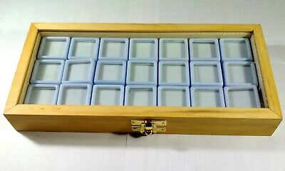 GEMSTONE Diamond Display Storage wooden box Jewelry 21 Plastic Box