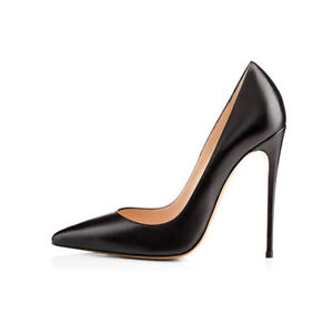 12CM Womens Sexy Matte Black Pointed