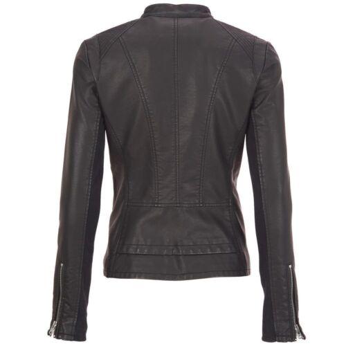 avec similicuir Nouveau rivet ajusté femmes Blouson en moto noir noir pour 4FxnwaqYnt