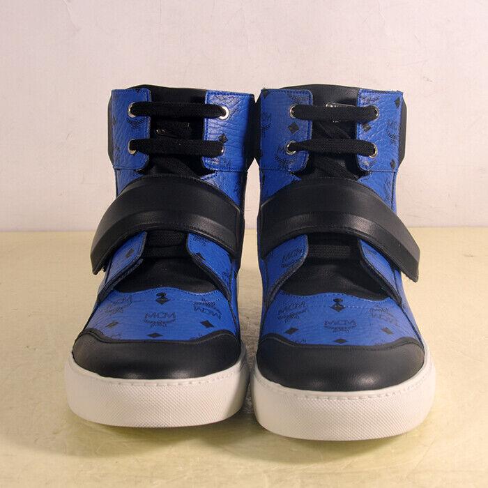 AUTENTIC NUOVI UOMINI MCM blu  LOGO MCM ALTO TOP scarpe da ginnastica EU 43  US 9.5  omaggi allo stadio