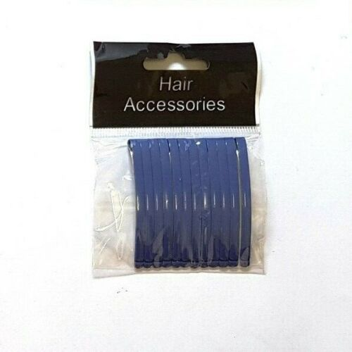 Set of 12 Straight Metal Thins Hair Slides Grips Decoration Made in France