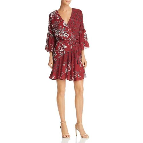 French Connection Womens Red Faux-Wrap Floral Daytime Mini Dress 2 BHFO 2577