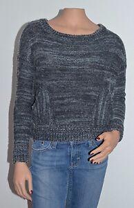 Free-People-Boho-Oversized-Knit-Sweater-Size-XS-Gray-Cotton-Wool-Angora