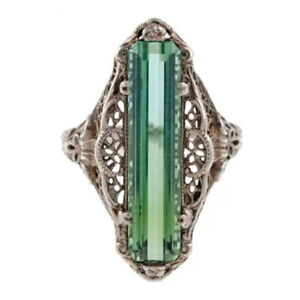 Handmade-Emerald-Topaz-Vintage-Carved-Patterned-Women-Ring-Jewelry-Gift-Size6-10