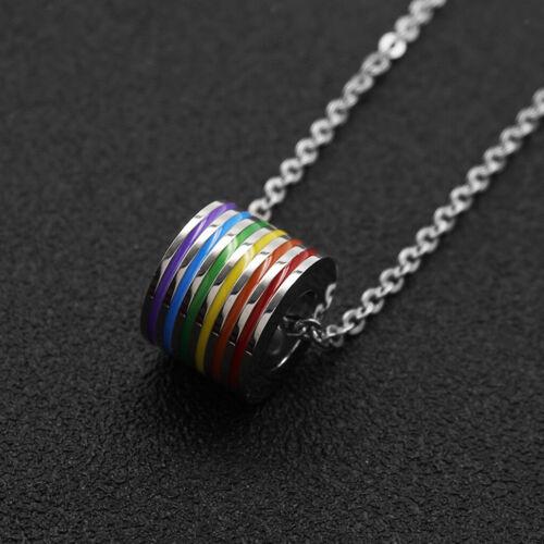 Edelstahl Regenbogen LGBT Lesben Gay Pride Anhänger Halskette Silber