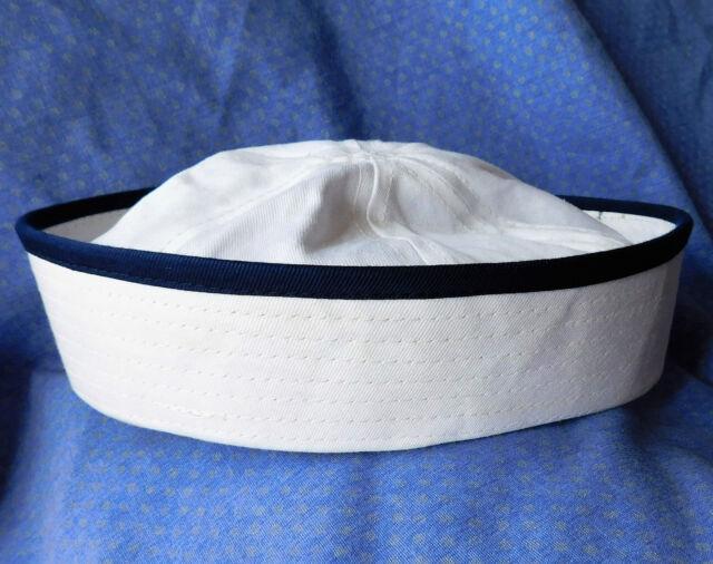 3 vintage sailor hats white cotton UNUSED SHOP SOILED children boy girl SMALL