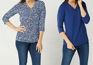 Denim-amp-Co-Essentials-Perfect-Jersey-Set-of-Two-V-Neck-Tops-Navy-X-Large-Size