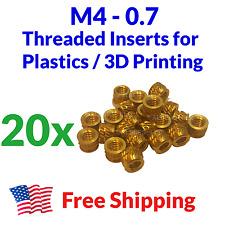 M4 4mm M4 07 Brass Threaded Heat Set Inserts For 3d Printing Bolts Screws Metal