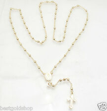 "24"" 3mm Technibond Rosary Chain Necklace 14K Yellow Gold Clad Sterling Silver"